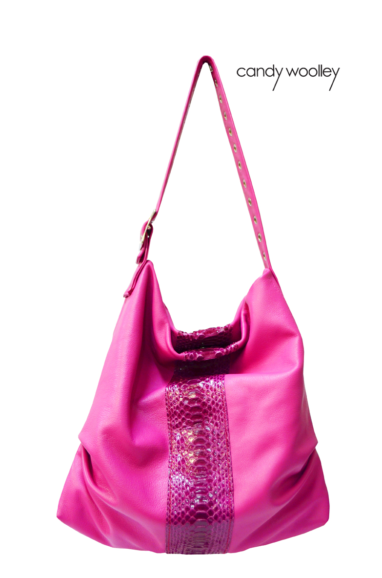 Leather and snake skin pink hobo bag