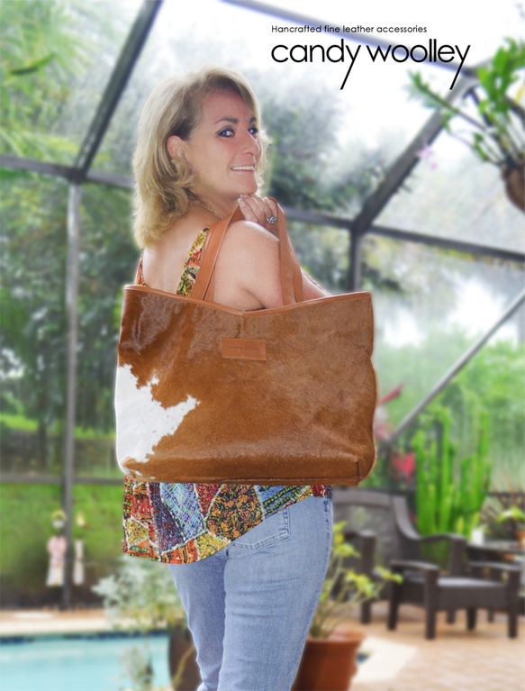 Minnie Lippman with a Candy Woolley cowhide tote