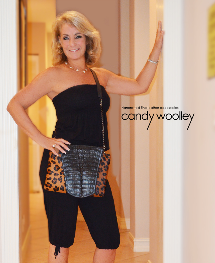 Minnie Lippman with a Candy Woolley leopard print calf and crocodile clutch & crossbody