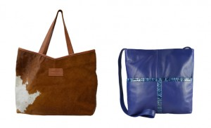 Candy Woolley cowhide tote and  blue crossbody