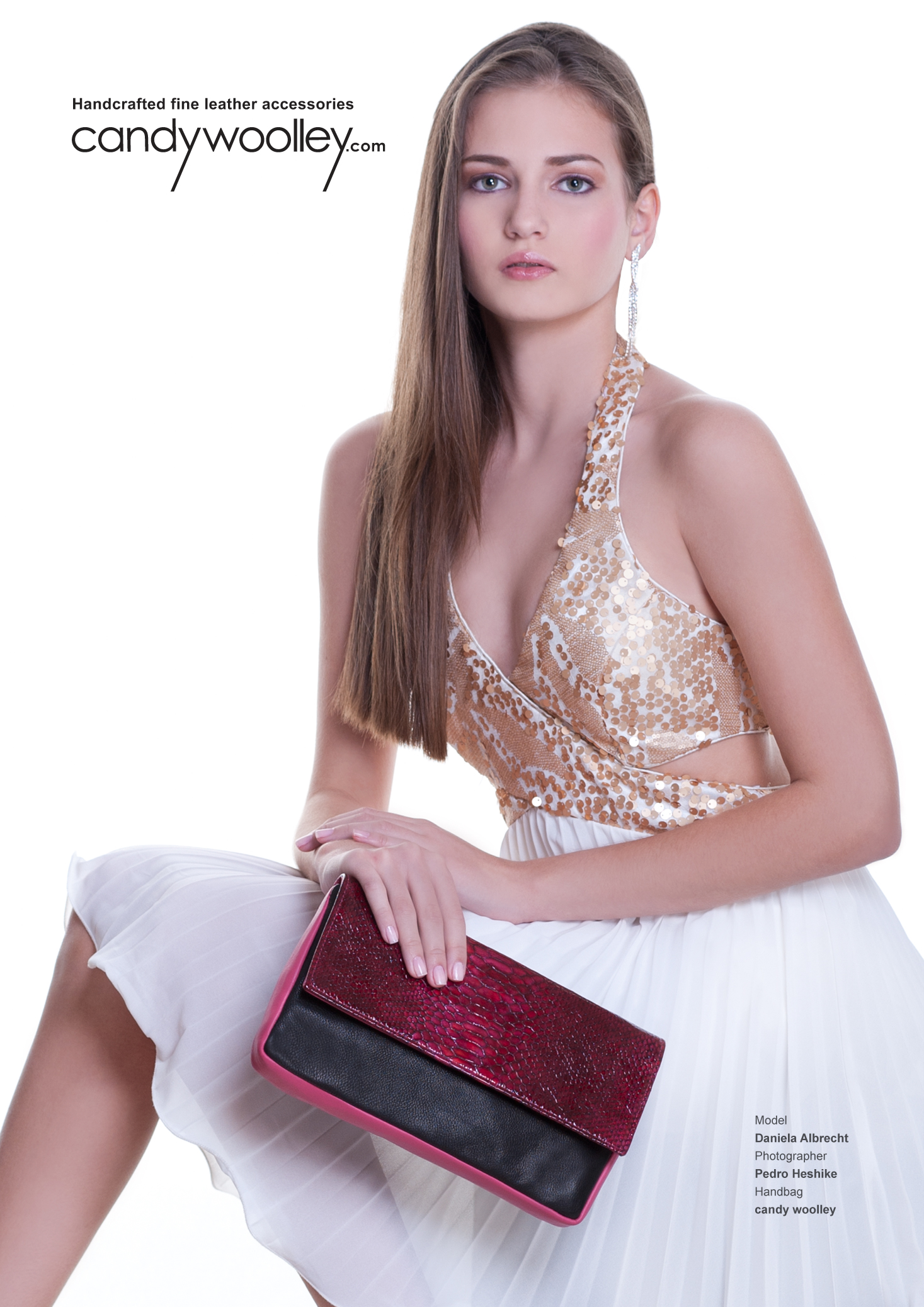 Miss South Florida Teen USA Daniela Albrecht with a Candy Woolley tri-color pink python clutch