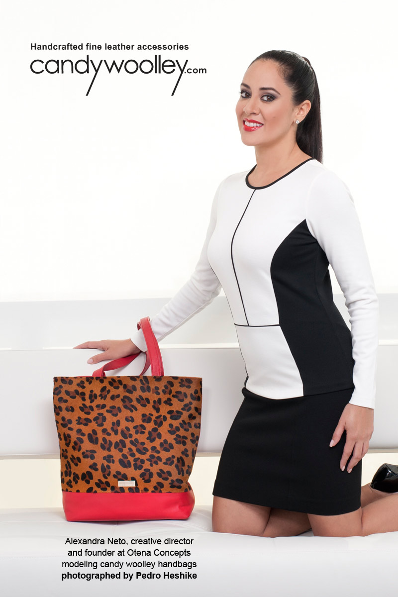 Alexandra Neto, Founder of Otena Concepts, with a Candy Woolley Equus leopard print calf hair red leather tote