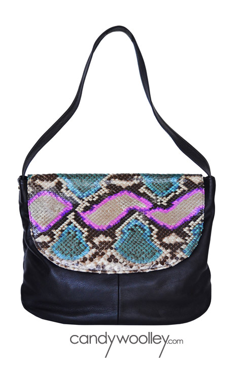 Candy Woolley hand painted python hobo