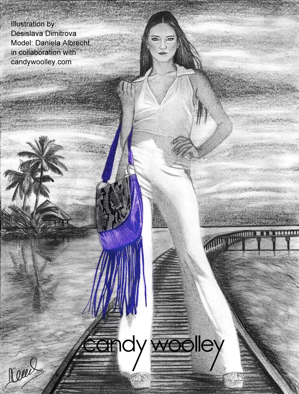 Illustration: Desislava Dimitrova - Model: Daniela Albrecht - Bag: Fringed python and leather hobo