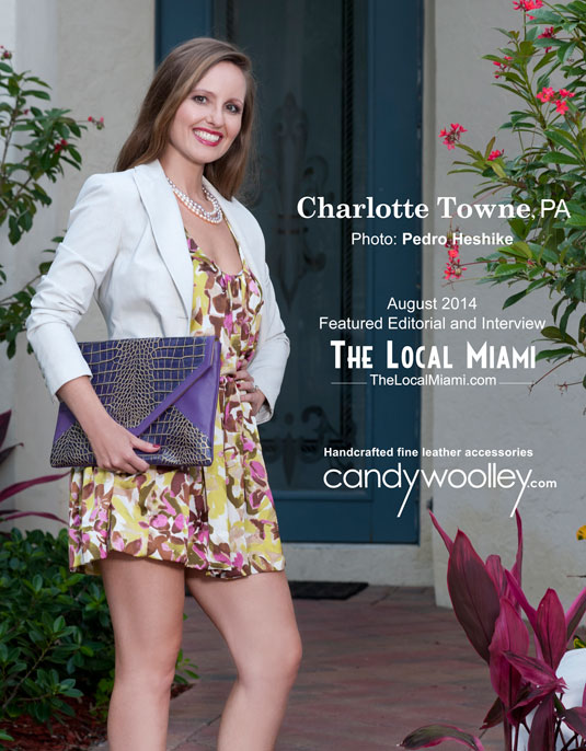 Entertainment Lawyer Charlotte Town with a purple Candy Woolley Anouk iPad clutch