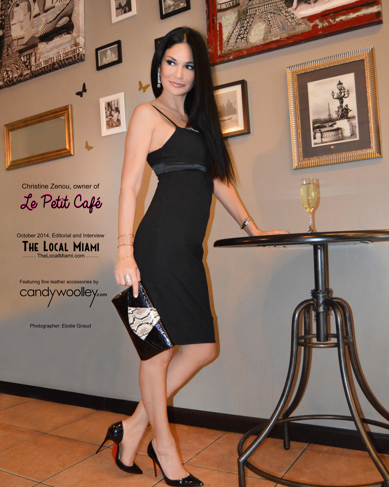 Le Petit Cafe Miami Owner Christine Zenou with a Candy Woolley Sahara clutch